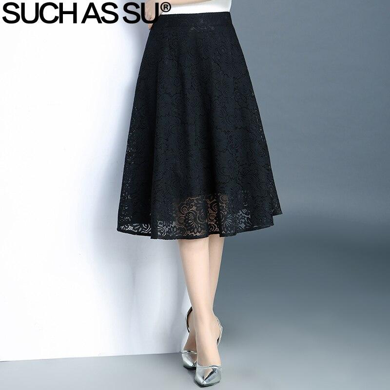 Spring Summer Lace Skirt Women s 2017 Korean Fashion Black Patchwork High Waist S 3XL Size