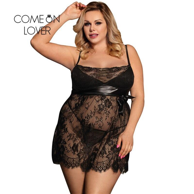 Comeonlover Intimo Donna Սեքսուալ տաք սև թարթիչի ժանյակով Babydoll Sleepwear Plus Size Fantasias Կանացի ներքնազգեստ Sexy Hot Erotic RI80456