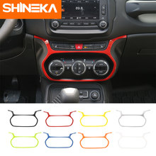 SHINEKA-autocollants pour garniture de cadre de décoration, boutons de climatisation, tableau de bord intérieur de voiture en ABS pour Jeep Renegade 2015 -2018