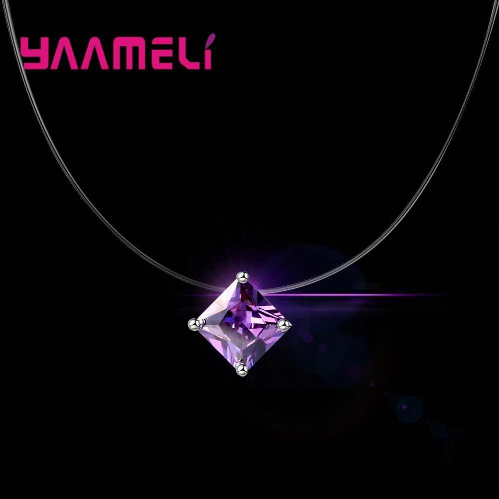 Original Necklace Women Invisible Rhinestones Transparent Fishing Line Chain Pendant Necklaces Fashion Jewelry collier