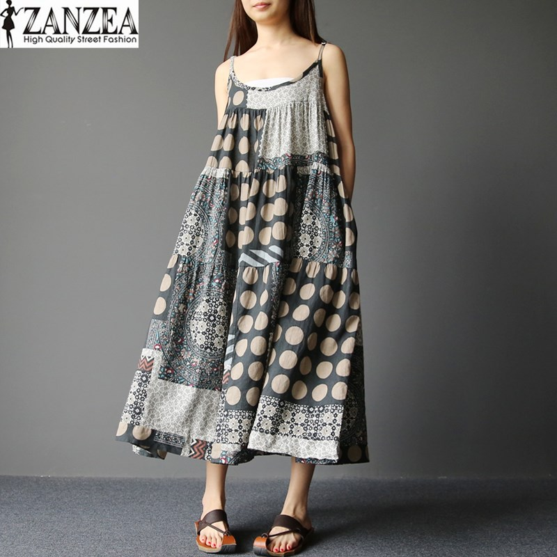 2018 ZANZEA Womens Summer Boho Floral Print Sleeveless Spaghetti Straps Casual Beach Loose Maxi Long Dress Vestido Plus Size