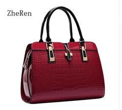 Charme nas mãos elegante couro de patente de jacaré bolsa feminina grandes bolsas de ombro cross lock design lady tote bolsa