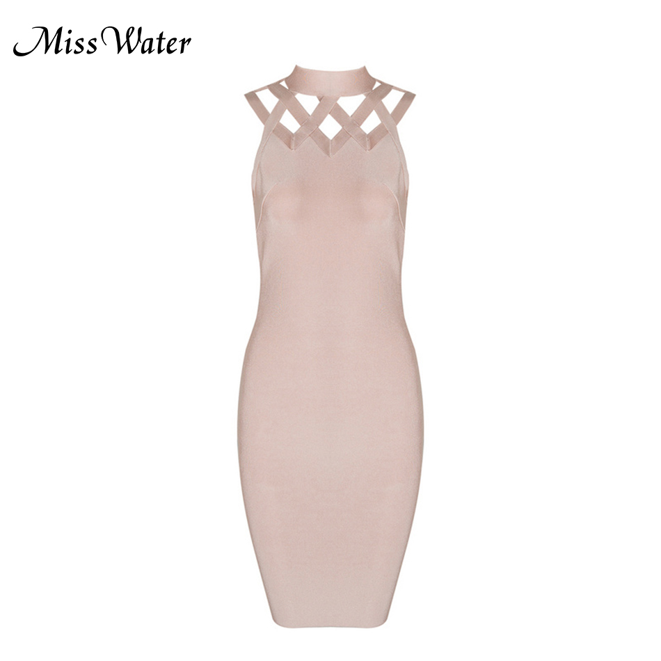 Miss Water 2018 New Solid Women Bandage Dress Vestidos Pink Black Hollow Out Sexy Stand O-Neck Sleveless Celebrity Party Dress