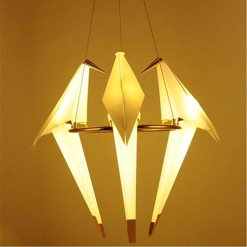 Северная птица железная подвесная бумага света кран светодиодный подвесной светильник Лофт Гостиная Ресторан подвесной светильник