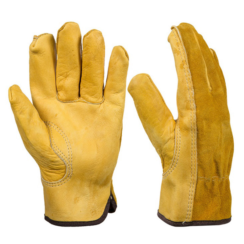 New Men's Work Gloves Cowhide Driver Security Protection Wear Safety Workers Welding Moto Gloves For Men Welding Handling Repair welding welders work soft cowhide