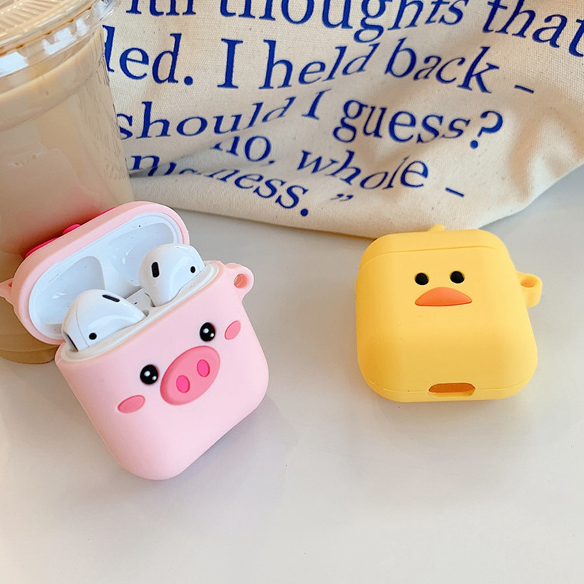Cute For AirPods 2 Case Cartoon Accessories silicon cover Bluetooth Earphone Cases For Air pods 2 cover with Finger loop Strap in Earphone Accessories from Consumer Electronics
