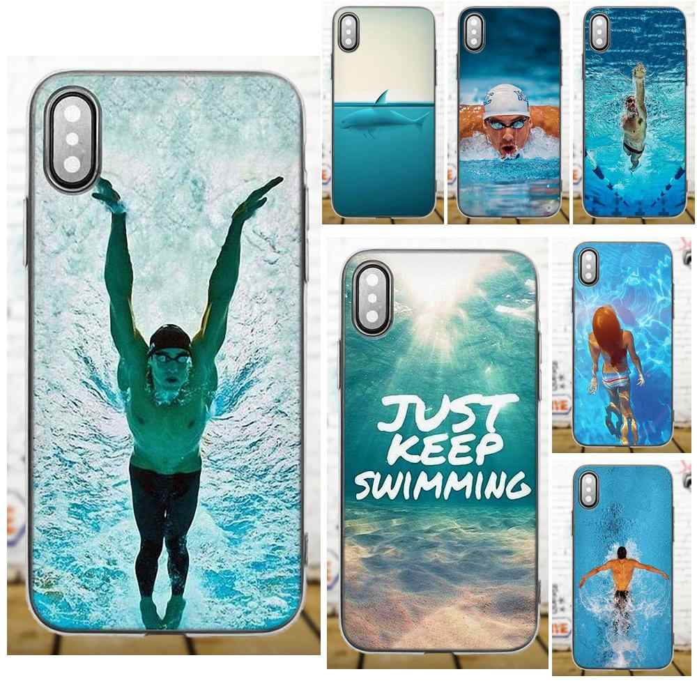 Oedmeb Michael Phelps Swimming For Samsung Galaxy A3 A5 A7 J1 J3 J5 J7 2016 2017 S5 S6 S7 S8 S9 edge Plus Soft Cell Phone