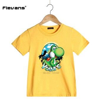2017 Enfants de Bande Dessinée Casual T Chemises Super Mario Yoshi Impression Style À Manches Courtes T-shirt pour Garçons Filles Enfants Vêtements D'été t-shirts