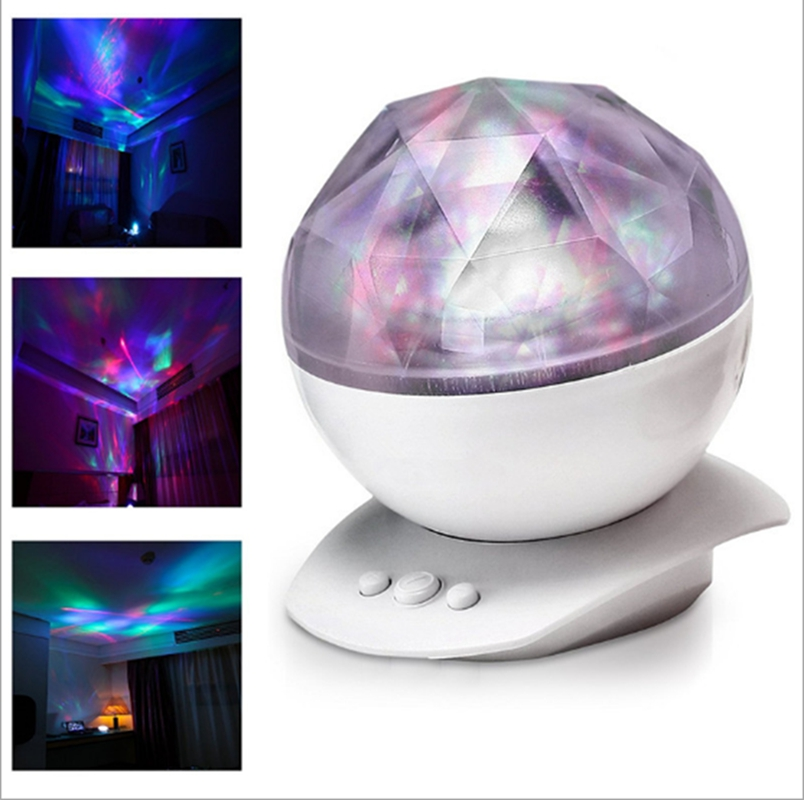 LumiParty Romantic Rotating Aurora Projector Light With 8 Lighting Mode Projection LED Baby Night Light with Speaker for Bedroom