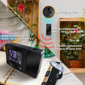 Image 5 - Digital HD Color Projection Alarm Clock In outdoor Thermometer Temperature Meter Double Alarm USB Charging VA Screen EU Plug