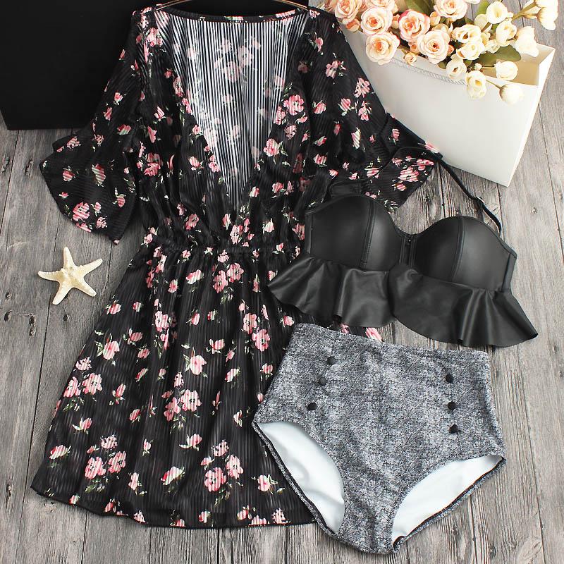 2018 Floral Halter Bikini Set Swimsuit Skirt Bathing Suit Push Up Swimwear Beachwear For Women Dress endearing halter push up floral bikini and dress swimwear suit for women