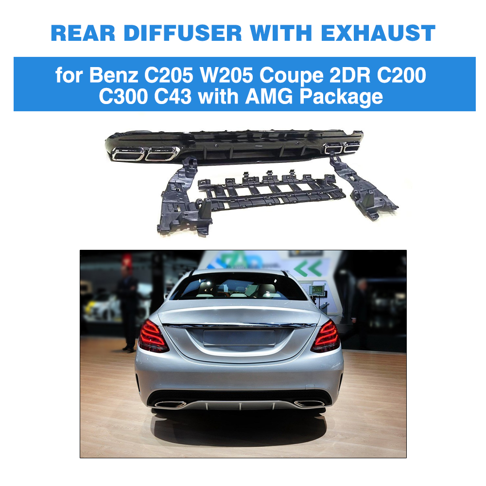 For Mercedes W205 Rear Diffuser bumper with Exhaust for mercedes benz C Class W205 sedan C200 C250 C300 C350 C400 C43 AMG 14 18