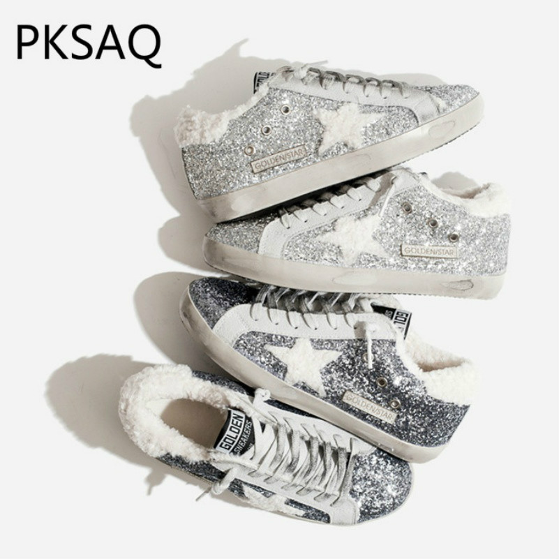 Winter New Warm Silver Sequins Women Sneakers Plush Cotton Shoes Ladies  Fashion Do Old Stars Flat a270c81b9