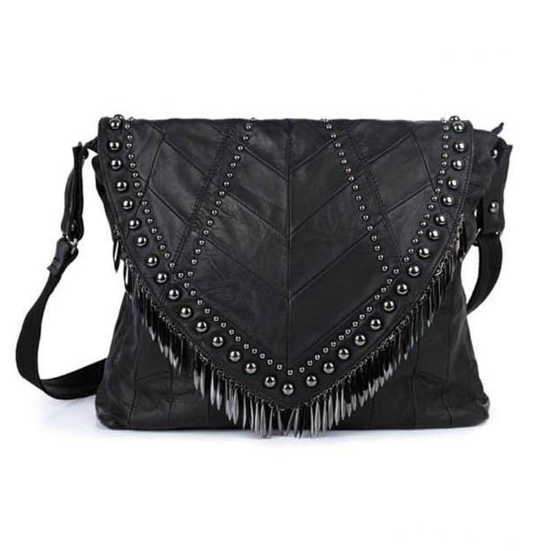 ФОТО All-Match Genuine Leather Women Handbags Designer Tassel Female Shoulder Bags Rivet Bag