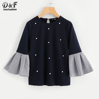 Dotfashion Striped Bell Sleeve Pearl Beading Keyhole Back T Shirt Woman 2017 Ruffle Round Neck Top