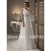 free shipping 2015 new style Sexy bride weddings Custom one shoulder crystal beading white chiffon long bridesmaid dresses