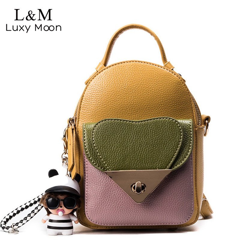 Women Backpack Small Hasp Black Heart PU Leather Panelled Preppy Style Backpacks Teenage Girls School Bags