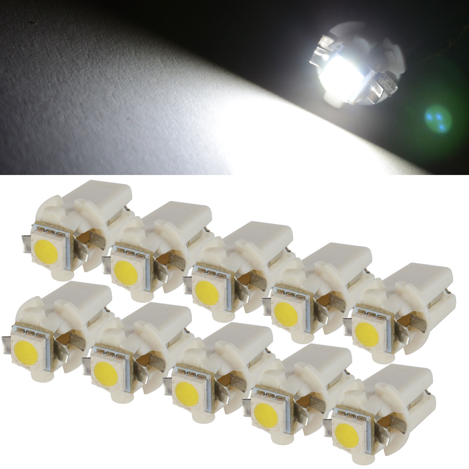 10PCS White T5 B8.3D 5050 1SMD LED Car Dashboard Panel Dash Wedge Side Light Bulb Auto Indicator Lamp 6000K DC 12 V uxcell 10 pcs ice blue 3020 smd led vehicles car dashboard dash light lamp internal