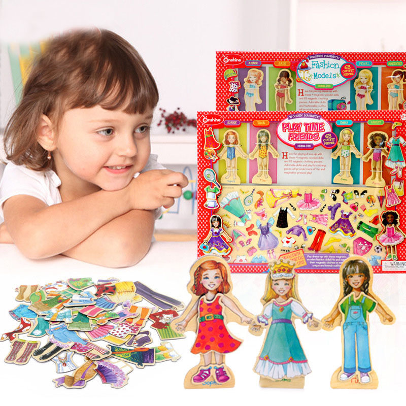 Lovely Magnetic Girl Changed Clothes 63PCS To Dress Up The Toy To Make Two Choices