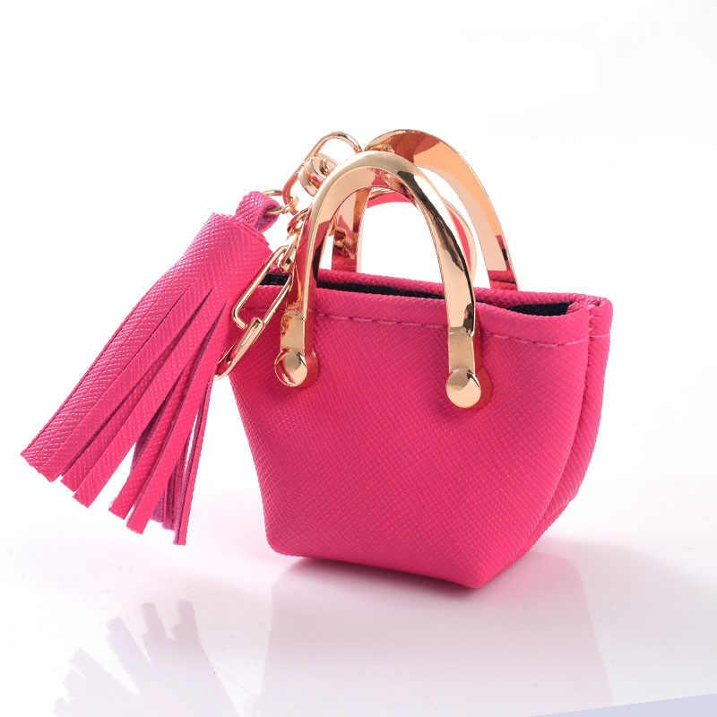 Pequeno saco Chave Decoração Chaveiro Mini Coin Purse cinza Rosa azul vermelho cadeias De Couro PU Saco de Armazenamento De Jóias Pingente de Moda