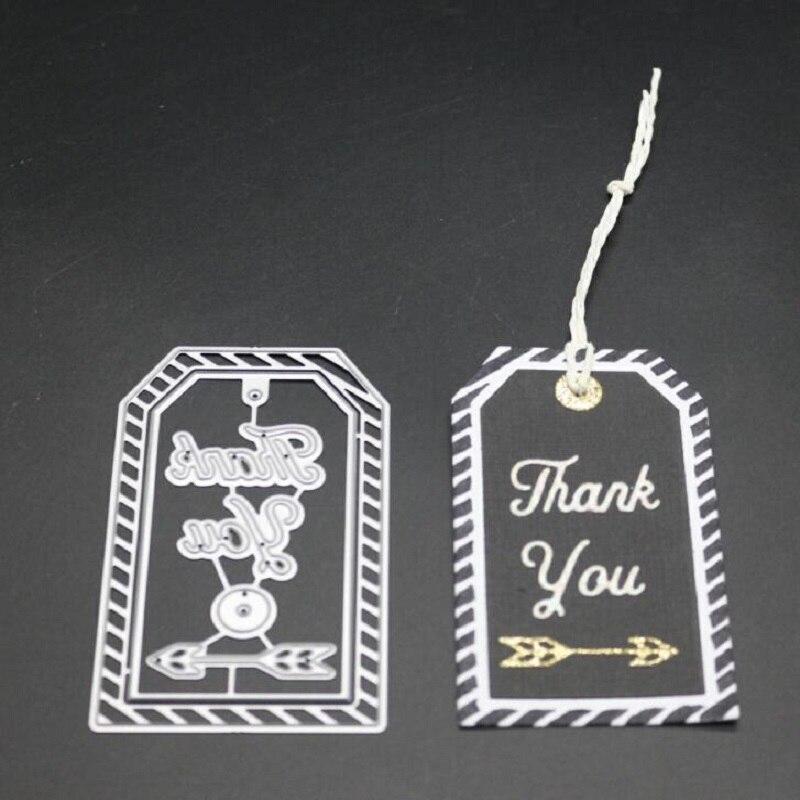 FeLicearts thank you tag Metal Cutting Dies Scrapbooking Craft Die cuts Card Paper art diy album Emboss Stencil 54 90mm in Cutting Dies from Home Garden