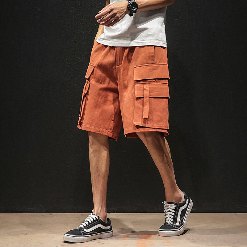 Harajuku Ribbons Men Hip Hop Short Pants Pockets Vintage Cargo Shorts Streetwear Men's Bermuda Shorts Military Tatical Trousers