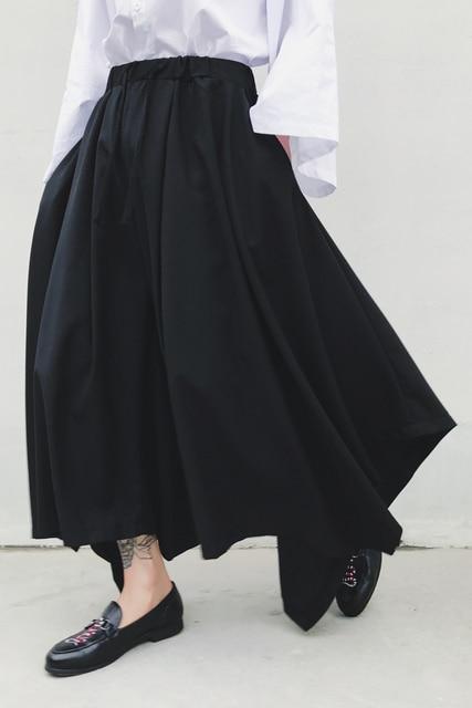 S-XXL!! Dark spring and autumn tide big size new alternative big skirt big bell pants nine points wide leg pants 5