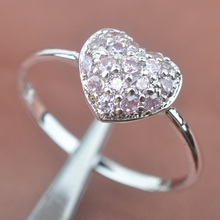 Heart Design Pink Cubic Zirconia Zircon Stamped  Silver For Women Jewelry Rings Free Shipping Size 6 7 8 9 SA045