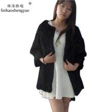 Linhaoshengyue платье из натурального меха кролика с круглым воротником