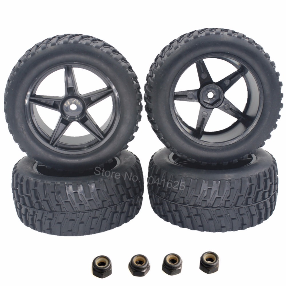 4pcs 2.2 inch RC Rally Monster Tires & Wheels for 1/10 Scale Exceed Electric Off Road Truck