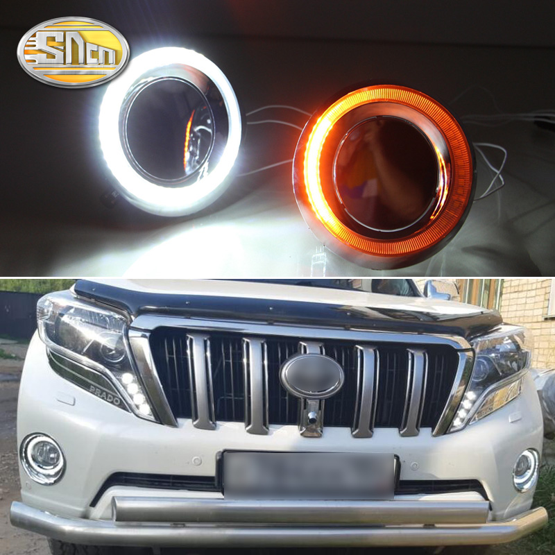 SNCN LED Daytime Running Light For Toyota Prado FJ150 LC150 2014 2015,Car Accessories Waterproof ABS 12V DRL Fog Lamp Decoration sncn led daytime running lights for toyota prado 150 fj150 lc150 2010 2013 drl fog lamp cover with dimming function