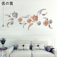 Европейский Металлический Настенный декор трехмерное украшение стены креативное украшение дома гостиной лист лотоса