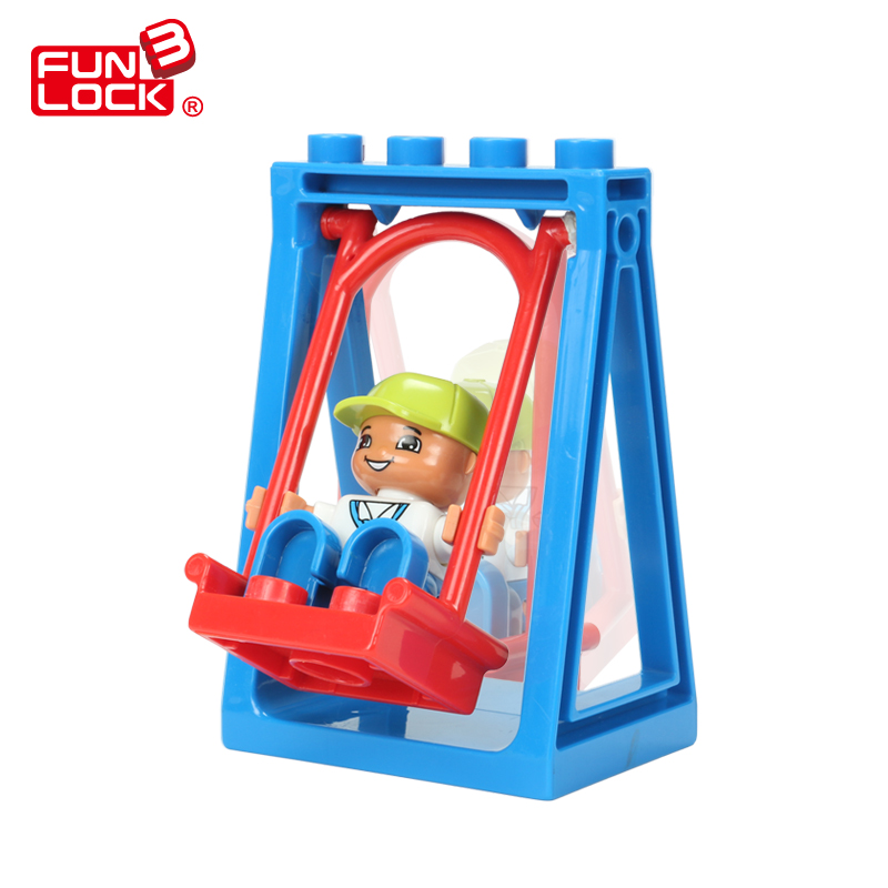 где купить  Funlock Duplo Playground Swing Blocks for Kids Plastic Park Theme Bricks Parts Educational Learning Toys Game For Children  по лучшей цене
