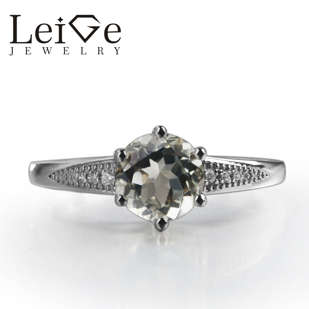 Leige Jewelry Anniversary Rings Natural Green Amethyst Rings Round Cut Gemstone Solid 925 Sterling Silver Promise Ring for Women цены онлайн