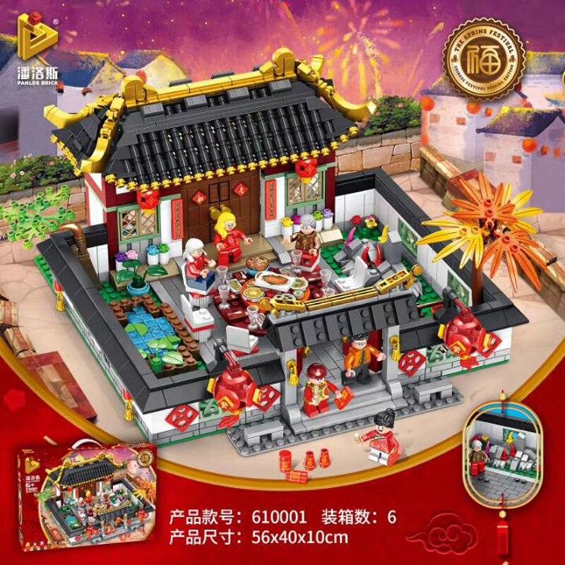 2019 Chinois de style série 610001 Fête Du Printemps Nouvel An Eve Dîner de Famille Modèle Kits de Construction Blocs Kid nouvel An jouets Cadeau