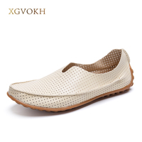 Summer Breathable Hollow Out Cowhide New Genuine Leather High Quality Fashion Shoes Men Women Shoe Casual