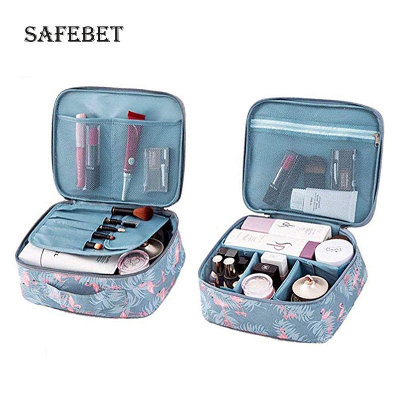 Ladies Travel Makeup Organizer Zip Nylon Printing
