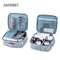 Damen reise make-up veranstalter zip nylon druck Wasserdichte tragbare kosmetik tool kit für organator für kosmetik lagerung box