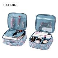 Ladies travel makeup organizer zip nylon printing Waterproof portable cosmetic tool kit for organator for cosmetics storage box