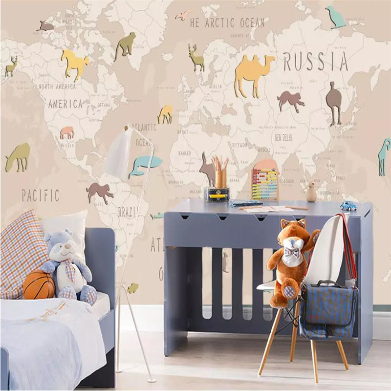 Creative wallpaper cartoon animal world map childrens room background wall professional making mural photo