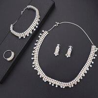 4pcs Fashion women statement jewelry Bicolors Color Cubic Zirconia Necklace Earrings Bracelet Ring female jewelry sets