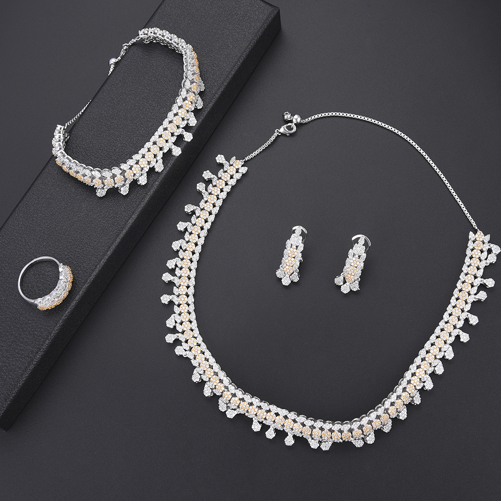 4pcs Fashion women statement jewelry Bicolors Color Cubic Zirconia Necklace Earrings Bracelet Ring female jewelry sets