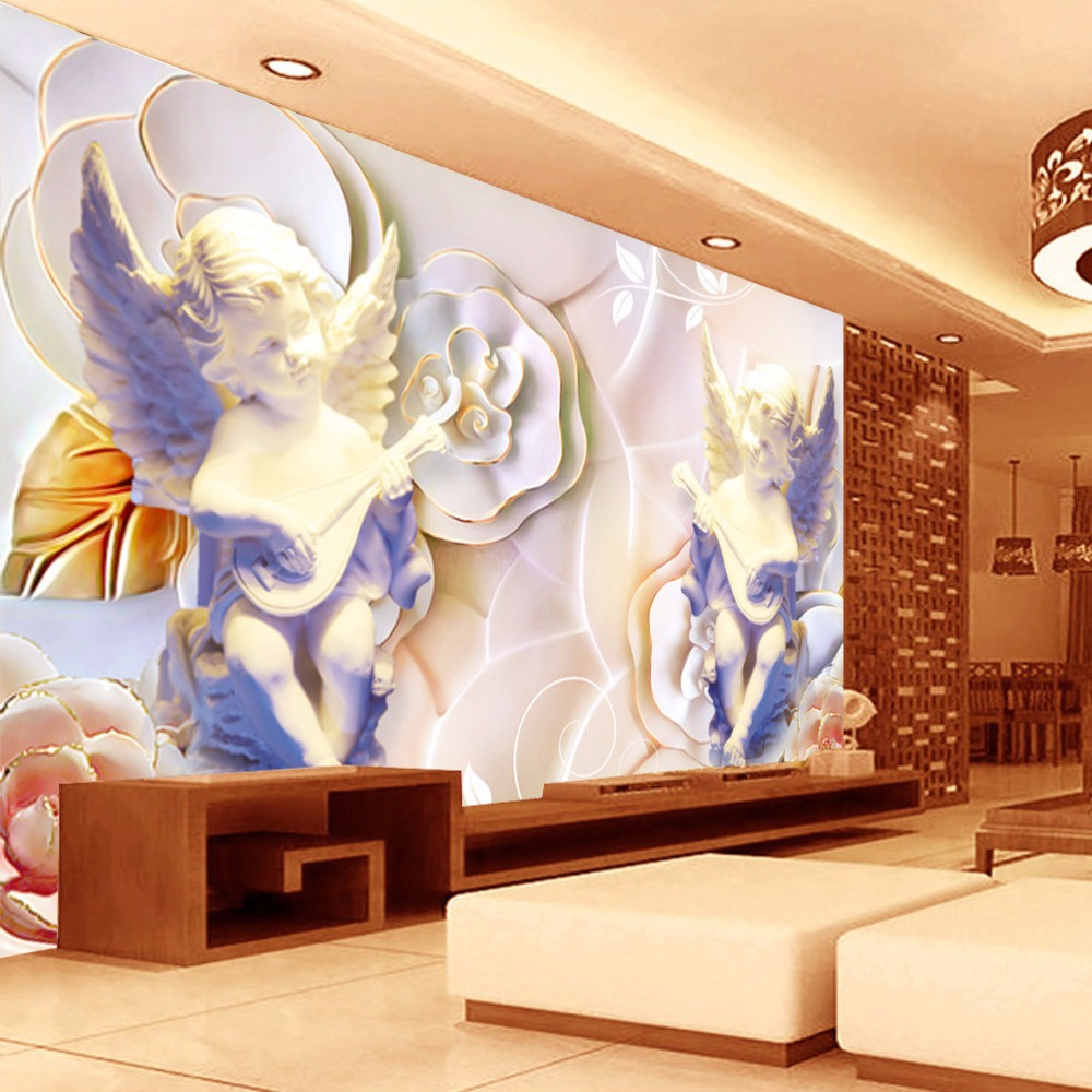 Custom photo wall paper mural 3d stereo europe angel for Angel wall mural