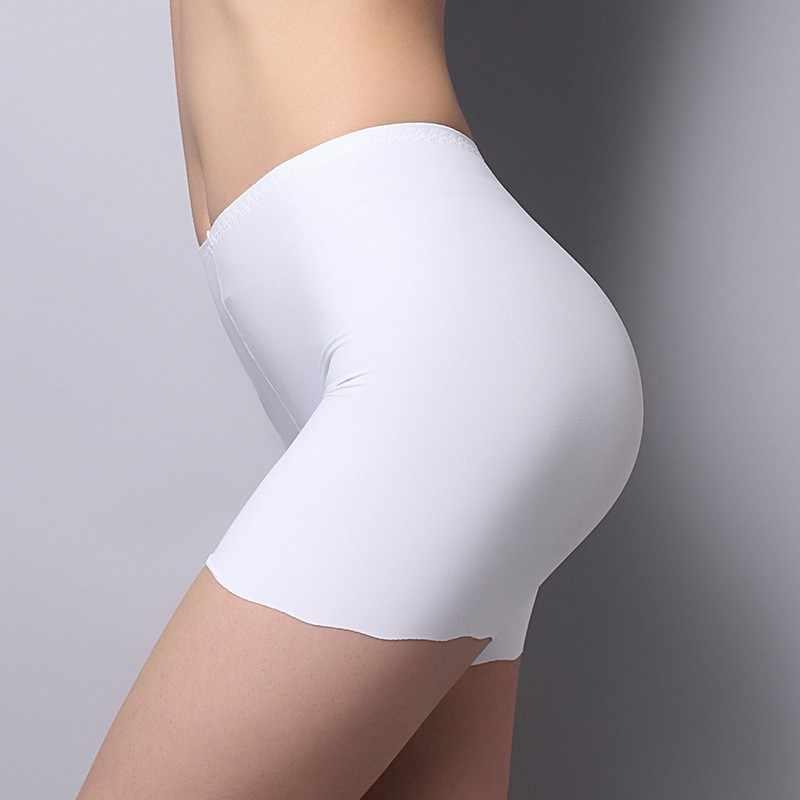Wanita Mulus Es Sutra Celana Pinggang Tinggi Stretch Solid Safety Celana Pendek