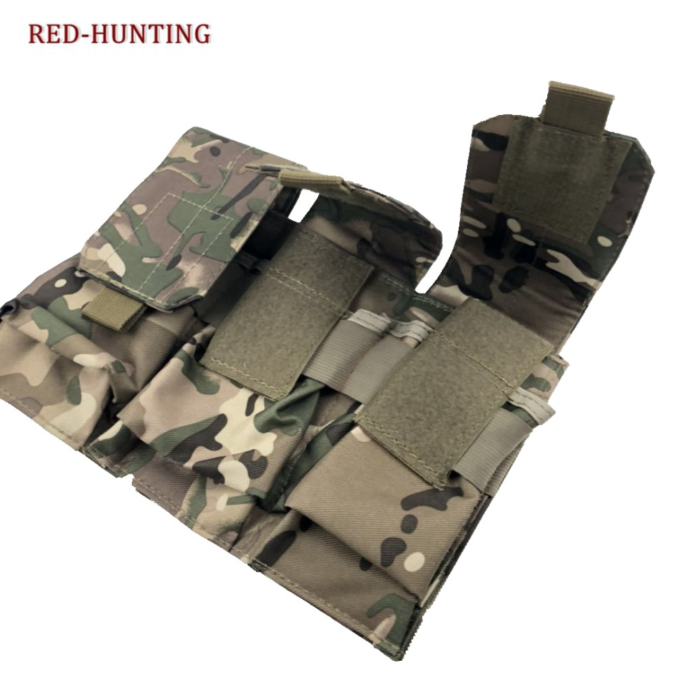 Triple <font><b>M4</b></font> Molle System <font><b>Magazine</b></font> Pouch For Military Airsoft Hunting Vest Tactical Rifle Pistol Mag Holder Bag image
