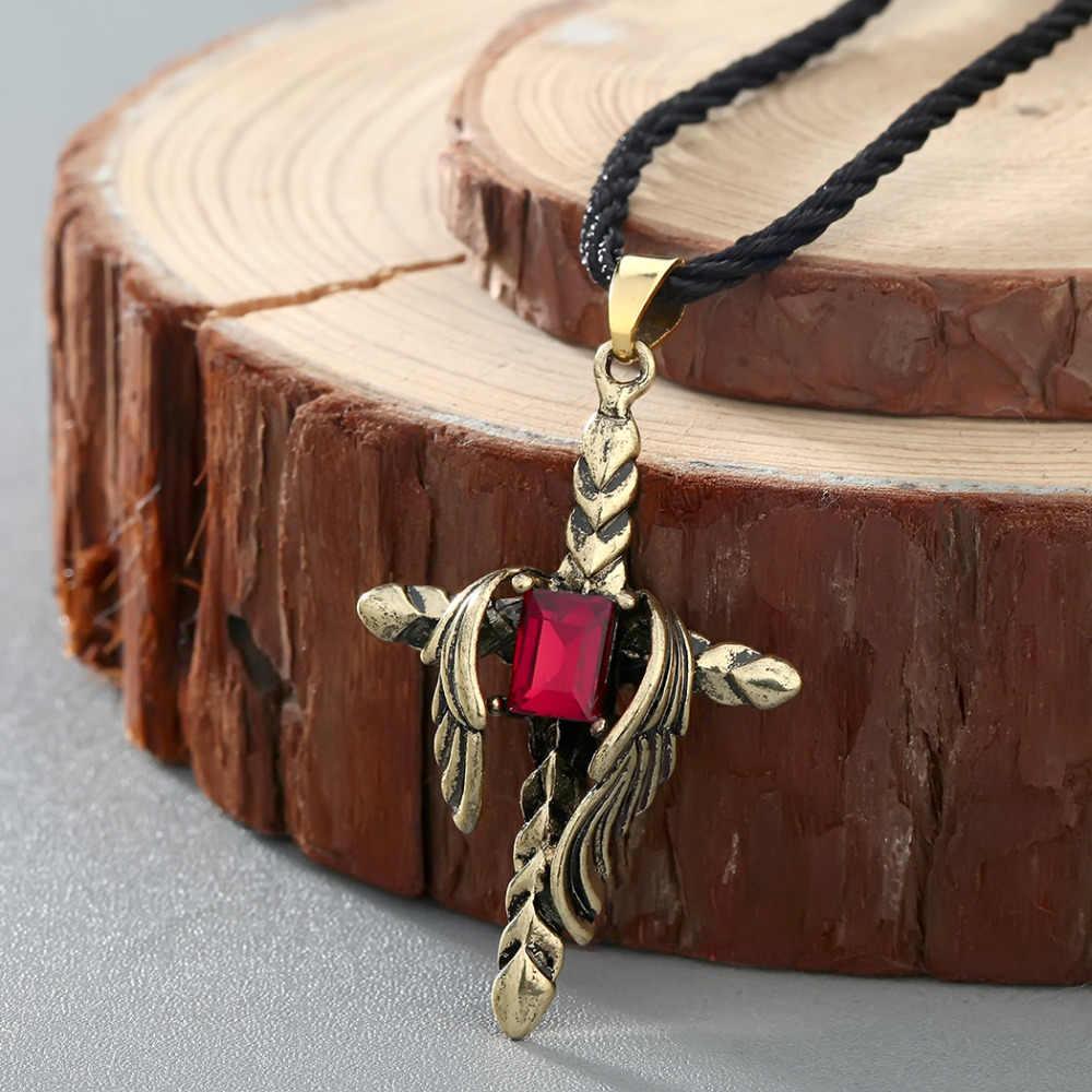 QIAMNI Punk słowiańskich czerwony cyrkon pióra krzyż wisiorek naszyjnik Pagan Amulet Nordic Viking biżuteria przyjaźń prezent urodzinowy urok