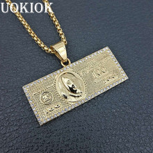 Hip Hop Men Gold Color Dollar Money Cash Coin Necklace Pendant Stainless Steel Iced Out Pendant & Chain Hiphop Jewelry(China)