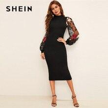 SHEIN Flower Embroidered Mesh Sleeve Bodycon Dress Women Spring Black Elegant Dress Stand Collar Long Sleeve Slim Midi Dress