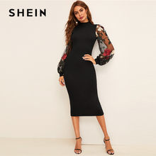 SHEIN Flower Embroidered Mesh Sleeve Bodycon Dress Women Spring Black Elegant Dress Stand Collar Long Sleeve Slim Midi Dress(China)