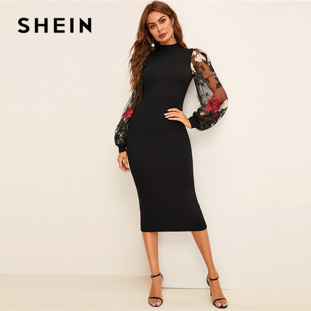 SHEIN Flower Embroidered Mesh Sleeve Bodycon Dress Women Spring Black Elegant Dress Stand Collar Long Sleeve Slim Midi Dress